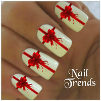 Christmas Nail Decal 20 Red Bows Vinyl Stickers  Nail Art
