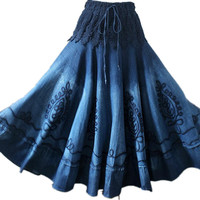 Vintage Ethnic Embroidery Bohemian Spliced Mori Girl Preppy Style Denim Maxi Skirts Women D390