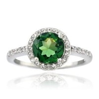 Sterling Silver Created Green Quartz & White Sapphire Round Ring