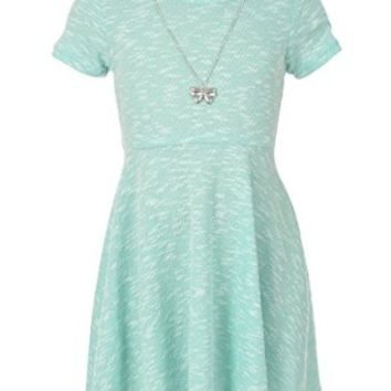 """George A Ltd Big Girls' """"Northern Knit"""" Skater Dress with Necklace"""