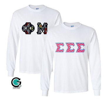 CUSTOM Combo White Long Sleeve Greek (Sorority or Fraternity) Letter T-Shirts