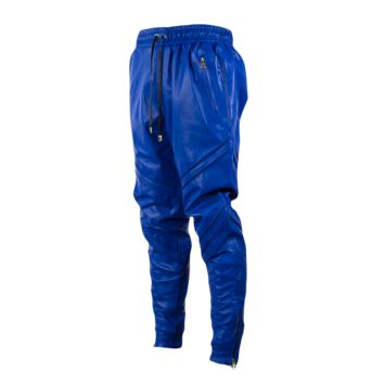 En Noir Pin Tuck Leather Sweatpants (Blue) - Mens