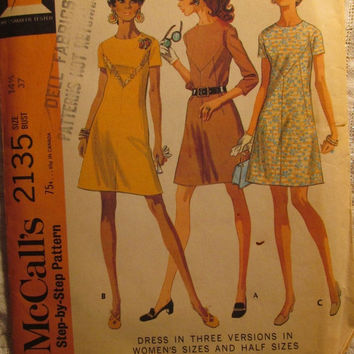 SALE Uncut 1960's McCall's Sewing Pattern, 2135! Size 14 1/2, Bust 37/Women's/Misses/Easy Dress/Short sleeves/Long Sleeves/Jackie Kennedy St