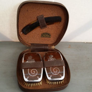 Vintage Mid Century Grooming Kit Brush Comb in Cowhide Leather Case Horse Equestrian Theme Great Men's Vanity Item