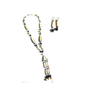 Black Beige Beaded Chain Necklace Earrings Set 1930s