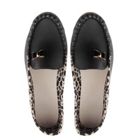 Fashion Women Leather Leopard Casual Slip On Dolly Ballet Flat Heel Loafer Shoes Yellow Blue and Black Worldwide sale