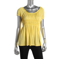 INC Womens Petites Modal Blend Ruffled Pullover Top