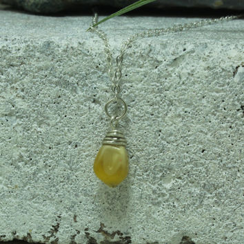Glass gem Corn necklace Sun Yellow Natural jewelry Sterling and Argentium Silver necklace