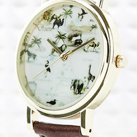 Animal Globe Map Watch in Brown - Urban Outfitters