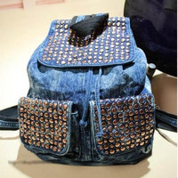 Punk Rivet Denim Backpack on Luulla