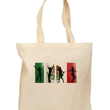 Mexican Flag - Dancing Silhouettes Grocery Tote Bag by TooLoud