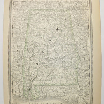 Vintage Alabama Map 1881 Antique Map of Alabama, AL Map, Gulf Coast State Map, Alabama Gift for Man, Art Gift for Coworker, Rand McNally Map