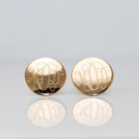 Monogrammed GOLD Initial Post earrings  by CherishedSentiments