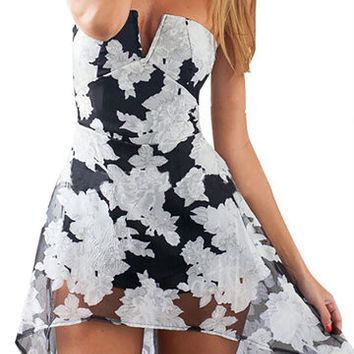 Black Floral Print Off the Shoulder Open Back Dress