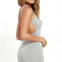 Flaunt What You Got Heather Grey Backless Bodycon Dress