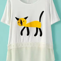 White Cat Printed Shirt with Sheer Chiffon Hemline