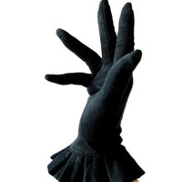 vintage 50s black cotton fancy gloves with pleated ruffle.