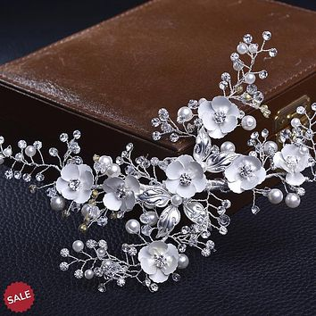 Silver Flower Rhinestone Crystal Bridal Hair Clip
