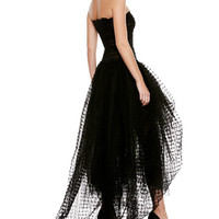 Strapless Lace Tulle High-Low Gown