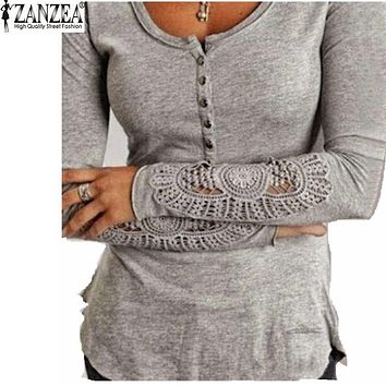 Zanzea Fashion Autumn 2018 Women Blusas Embroidery Crochet Lace Sleeve Hollow Blouses Casual Solid Tops O-Neck Shirt Plus Size
