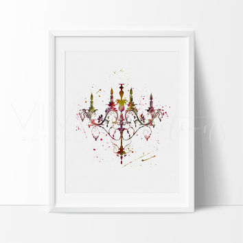 Stylish Chandelier Watercolor Art Print