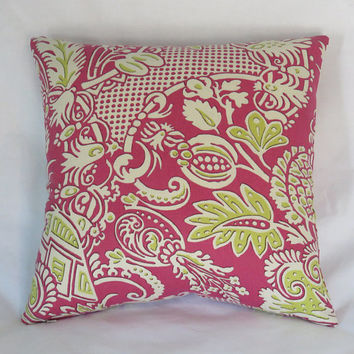 "Fuchsia and Lime Floral Pillow Cover, 17"" Square, Chartreuse Green, Hot Pink, White, Paisley Scroll 100% Linen"