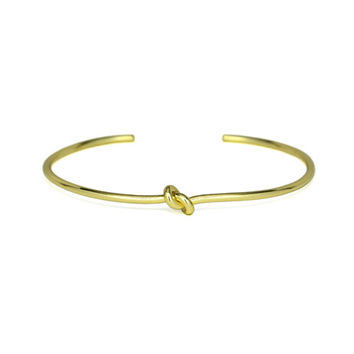 Thin Gold Knot Cuff Bracelet, Delicate Adjustable 18K Gold plated Love Knot Bracelet, Bridesmaid Gifts for Her