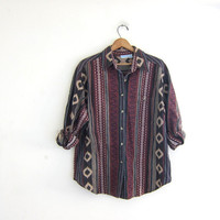 Vintage urban tribal shirt. Embroidered button up shirt. Geometric print shirt. Baja shirt.