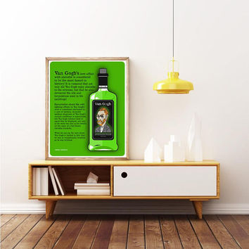 VINCENT VAN GOGH - Absinthe Bottle - Impressionist Artist - Unique Poster Portrait. Limited Edition Print
