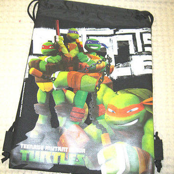 TEENAGE MUTANT NINJA TURTLES BLACK DRAWSTRING BAG BACKPACK TRAVEL-ALL NEW!