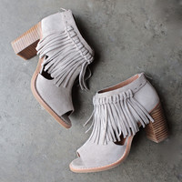 sbicca hickory beige suede leather fringe ankle booties