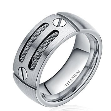 8mm Men's Silver/black Cable Inlay Titanium Ring Wedding Band Screw Design Size 6-14