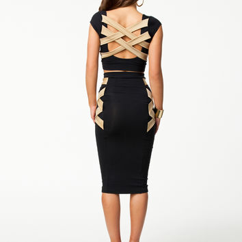 Black Cap Sleeve Strappy Back Bodycon Midi Dress