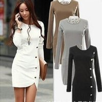 2015 Korean version of Hitz long-sleeved button-fall and winter package hip skirt dress = 1753646084