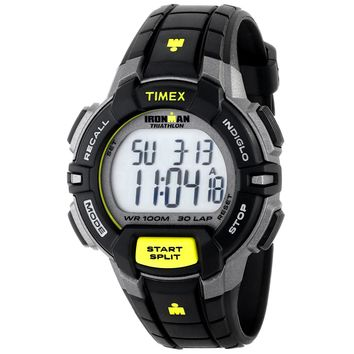Timex T5K790 Men's Ironman Triathlon Indiglo 30-Lap Rugged Grey Digital Dial Black Resin Strap Chronograph Watch
