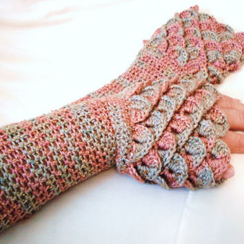 Mint and Rose Fingerless Gloves - 100% Silk Yarn with Gold Beading - Elegant Long Arm Warmer - Crocodile Stitch