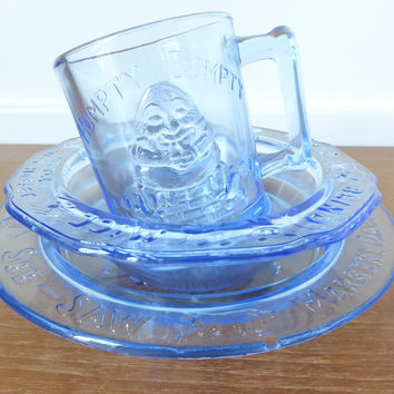 Light blue glass nursery rhyme dish set including bowl, mug and divided plate, Tiara glass