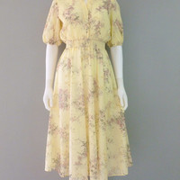 Soft Yellow Semi Sheer Floral Dress Vintage Dress S-XS Elastic Waist Summer Dress !970s Samuel Blue Prairie Dress