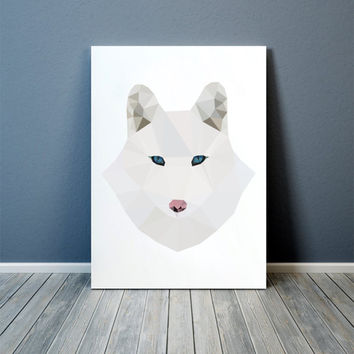 Colorful decor Polar fox art Animal print Nursery poster TOA72