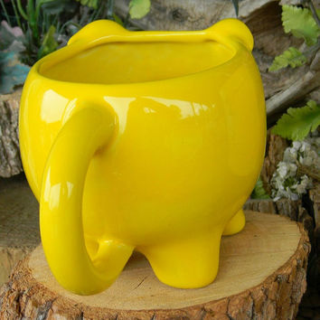 Pig Mug or Planter   Ceramic Glazed  Fruit Yellow