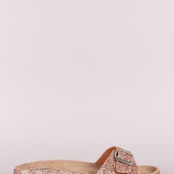 Glitter Encrusted Buckled Band Open Toe Slide Sandal