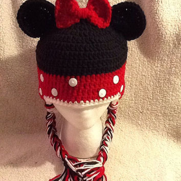 Crochet Minnie Mouse Beanie - All sizes - Made to Order