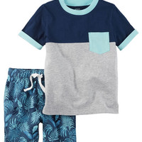 2-Piece Pocket Tee & French Terry Short Set