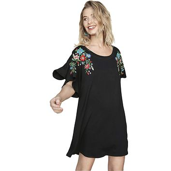 Umgee Women's Knit Mini Dress with Floral Embroidery and Elbow Length Flutter Sleeves
