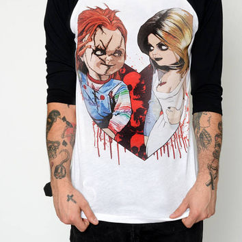Horror Chucky and Tiffany Baseball Tee Shirt (Men)