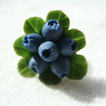 Blueberry ring - berry jewelry - blue jewelry - Rustic ring - Polymer clay jewelry - Floral jewelry - flower jewelry - blue ring