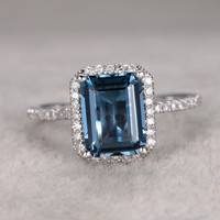 6x8mm Emerald Cut Topaz Engagement Ring Diamond Wedding Ring 14K White Gold London Blue Topaz
