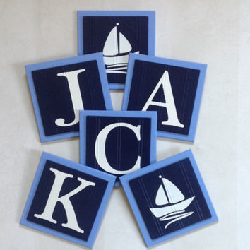 Nautical Baby Boy Nursery, Name Wall Letter SailBoat Nursery, 6 x 6 Personalized Wooden Plaques, Navy / Light Blue Baby Nursery Shower Gift