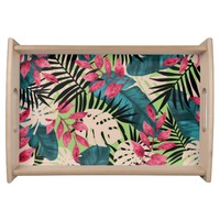 Tropical Leaves Pattern Serving Tray