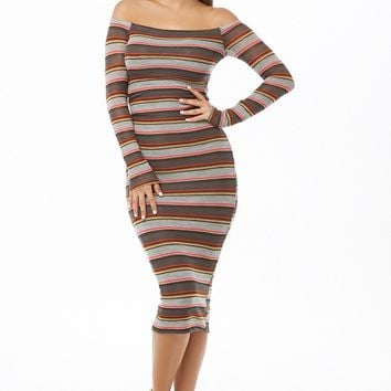 Striped Off-The-Shoulder Midi Dress